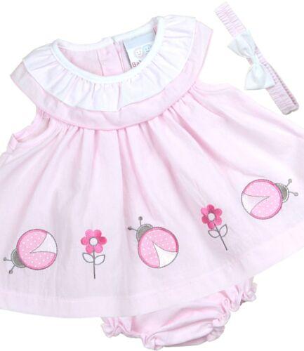 BabyPrem Baby Kleider Mädchen Rosa Weiß 3 Stück Set Kleid Stirnband Hose 0-9m