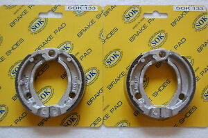 2 Sets WATER GROOVED Front Brake Shoes /& Springs 2007-19 Kawasaki KFX KSF 50 90