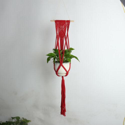Retro Macrame Hanging Wood Plant Hanger Flower Pot Garden Rope Basket Wall Art