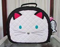 Betsey Johnson Train Case Weekender Cat Face Travel Bag Luggage Black Cream