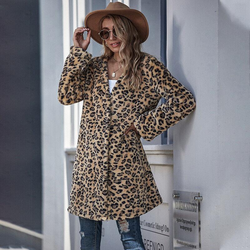 Women's Faux Fur Leopard Print Coat Mid Long Fluffy Jacket Loose Overcoat