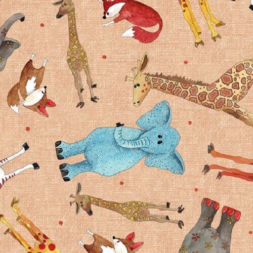 Elephants Fabric Giraffe Foxes fat quarters 100/% cotton Wild thing qt fabrics