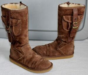 UGG-Australia-1895-Retro-Cargo-Tall-Zip-Brown-Sheepskin-Boots-Size-5-230