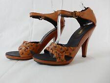 Colin Stuart Brown Leather Grommet Sandal Heels Shoes Size 9B Women's