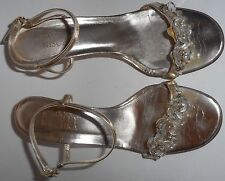 Bradley Mischka Shoes Sandals Heels 7 37 Metallic Gold Flower Crystals