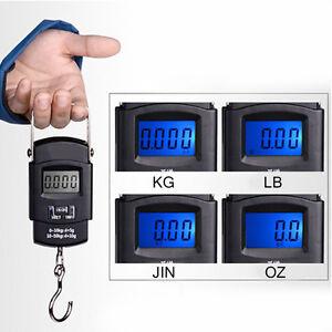 Digitale Taschenwaage Bis 50kg Gepäckwagen Waage Zugwaage Kofferwaage LCD WaF0X1