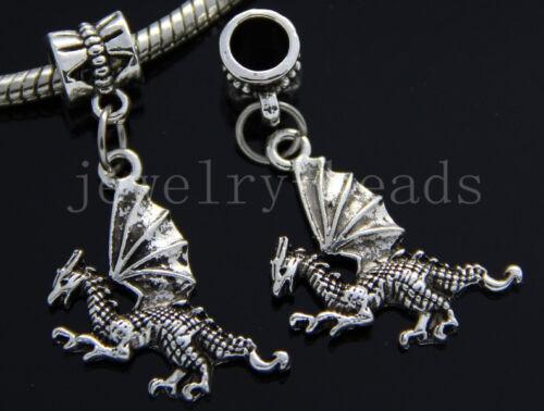 6//30//100pcs Tibetan Silver Wing dragon Bulk Lots Dangle Charms Bracelet Craft