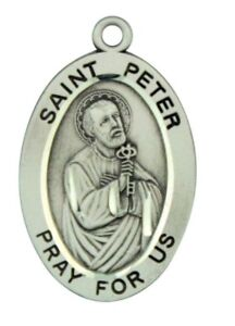 Saint st peter pray for us pendant 1 116 inch sterling silver medal image is loading saint st peter pray for us pendant 1 aloadofball Images