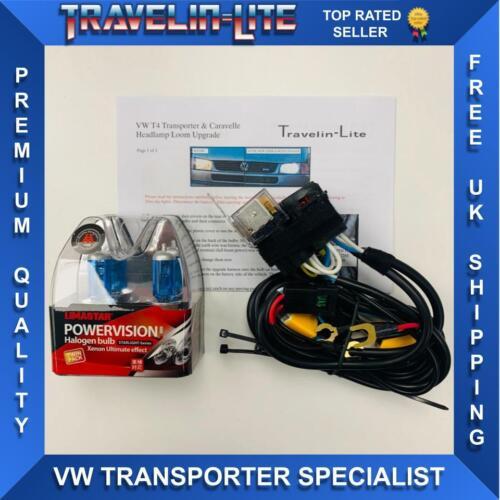 Para VWT4 Caravelle//Transporter Actualización Faros Arnés Telar /& Bombillas Super Brillante
