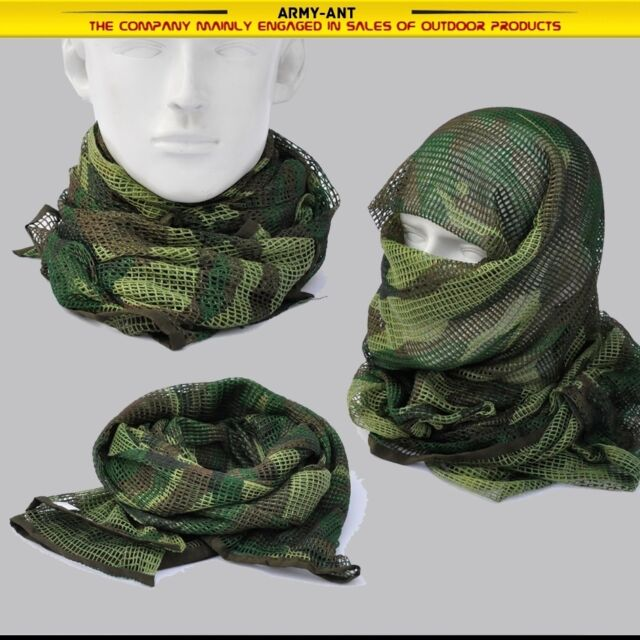 "Camo Black Khaki OD Tactical Mesh Scarf Wrap Mask Shemagh Sniper Veil 68""x33"""