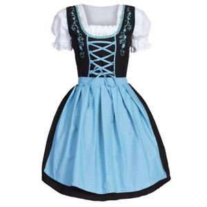 Womens-Oktoberfest-Costume-Bavarian-Beer-Cute-Girl-Drindl-Tavern-Maid-Mini-Dress
