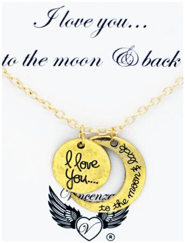 Te amo a la luna y volver Collar Colgante tarjeta joyas Vincenza