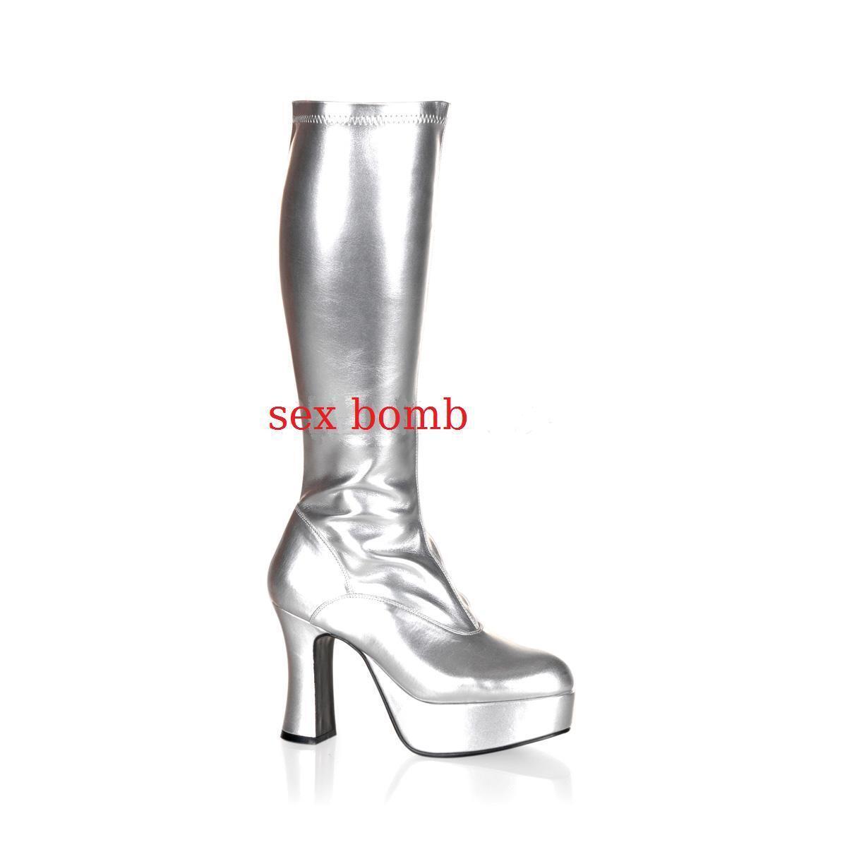 si affrettò a vedere Sexy STIVALI STIVALI STIVALI plateau tacco 10 dal 36 al 44 argentoO zip cosplay scarpe GLAMOUR  sconto