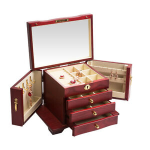 Wooden Armoire Jewelry Cabinet Box Storage Chest Stand Organizer