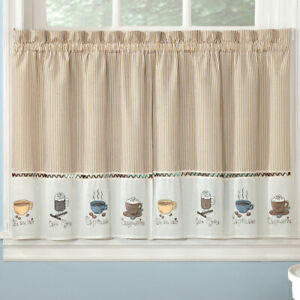 Details about Embroidered Coffee Java Espresso Kitchen Curtains Choice of  24\