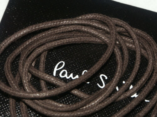 PAUL SMITH WAXED ROUND DARK BROWN SHOELACES THIN SHOE LACES 25 inches NEW