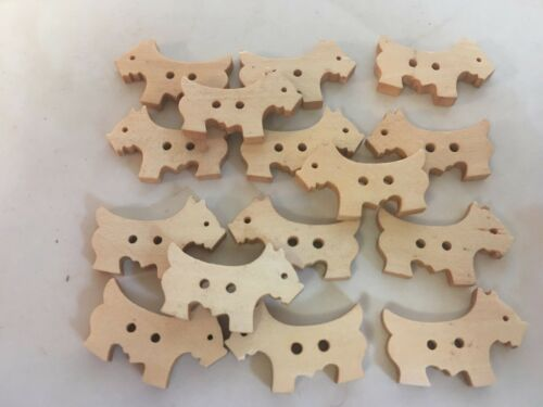 PACKET OF 15 WOOD SCOTTIE DOG 2 HOLE NATURAL BUTTONS CRAFTS DECOR  UK SELLER