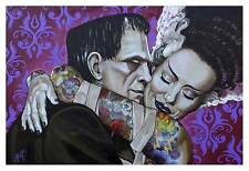 Undying Love by Mike Bell Tattoo Art Print  Frankenstein Pop Culture Monster