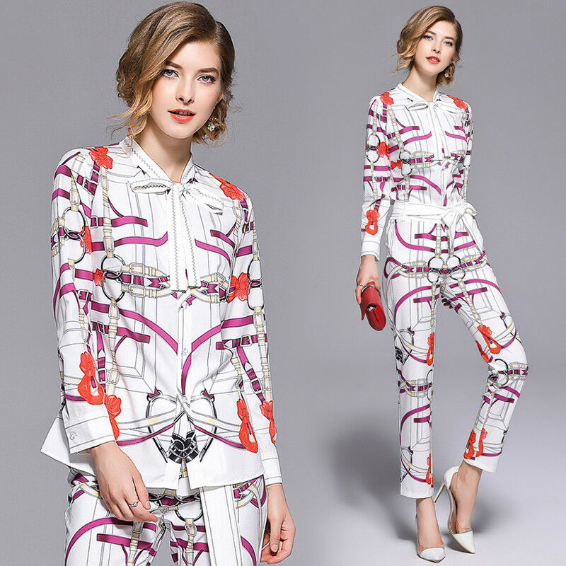 Occident women's fashion 2 pieces printing bowknot shirt+pencil pants suits