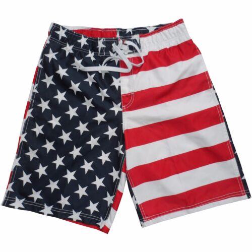 Men/'s USA American Flag Stars Stripes Red White Blue Swim Trunk Board Shorts