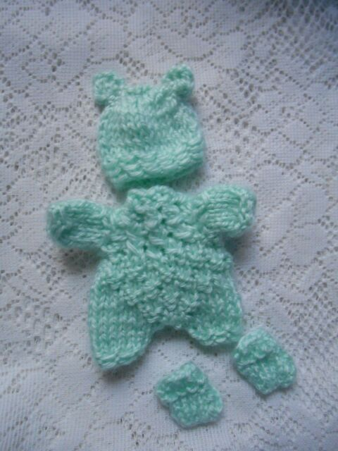 "Doll Clothes Mint Green Hand-Knitted 3 pcs romper fit Berenguer Baby 5"" ooak 6"