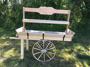 Details About Old Fashion Produce Cart Natural Wood With Authentic Amish Wagon Wheels