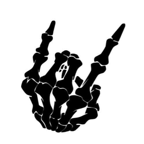 Skeleton Hand Metal Horns Sticker Rock /& Roll Skull Vinyl Window White