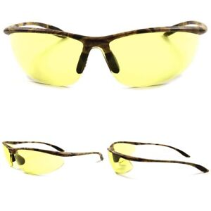 WRAP AROUND Night DRIVING SHOOTING HUNTING Yellow Lens Camouflage SUN GLASSES