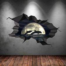 FULL COLOUR 3D AQUARIUM DOLPHIN NIGHT CAVE CRACKED 3D WALL ART STICKER DECAL 12
