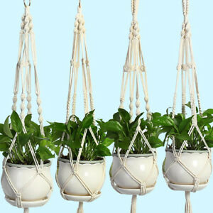 Pot-holder-macrame-plant-hanger-hanging-planter-basket-jute-braided-rope-iron-IS