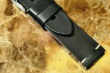 LEATHER WATCH STRAP HAND MADE ITALIAN SUPERIOR PREMIUM STRAP BLACK 20mm X 18mm