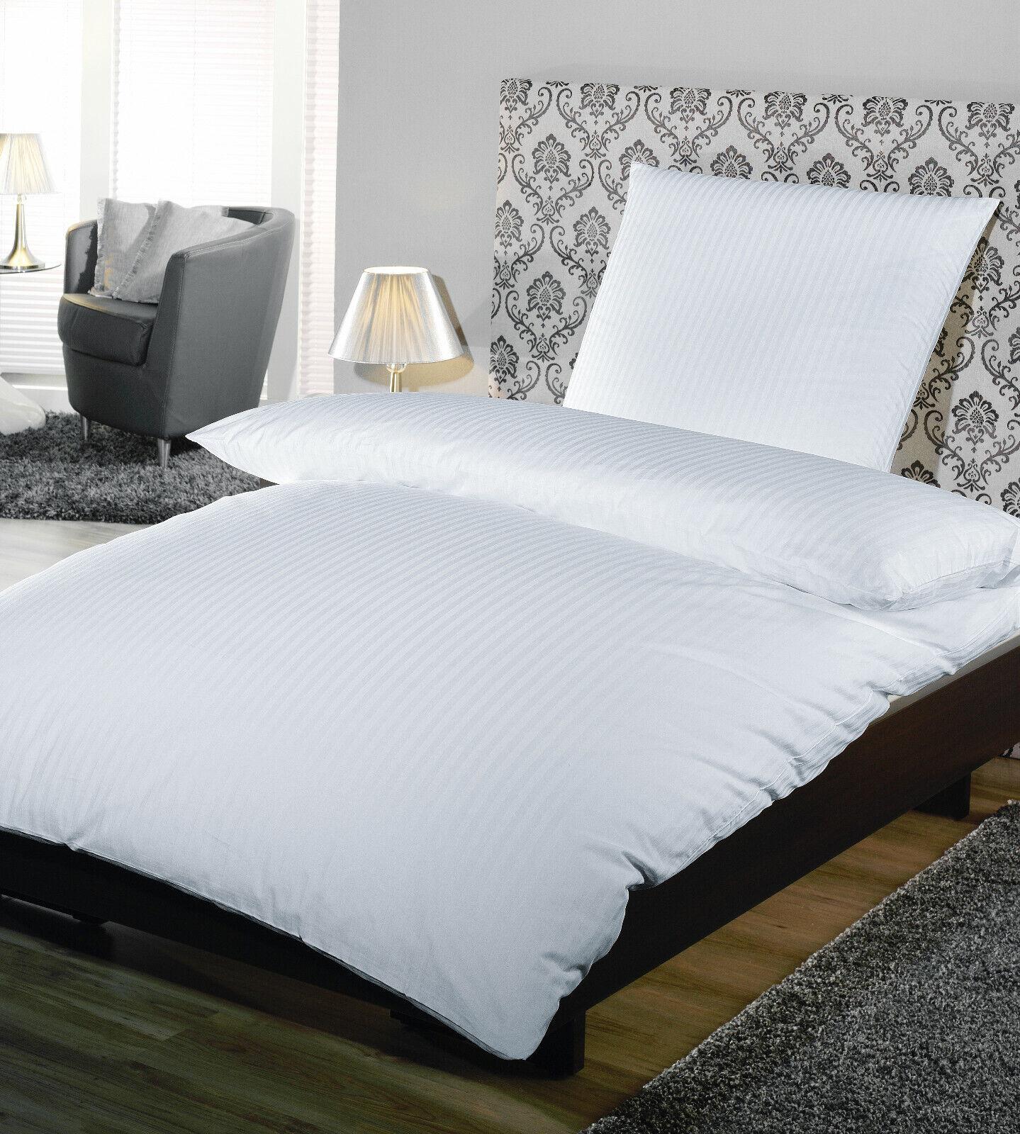 10 x Hotelbettwäsche 135x200 + 80x80 cm HV weiß 100% Baumwolle Satinstreifen 4mm