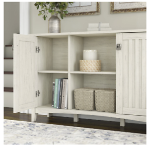 Details About Maison Rouge Lucius Antique White Storage Cabinet Doors Living Room Furniture