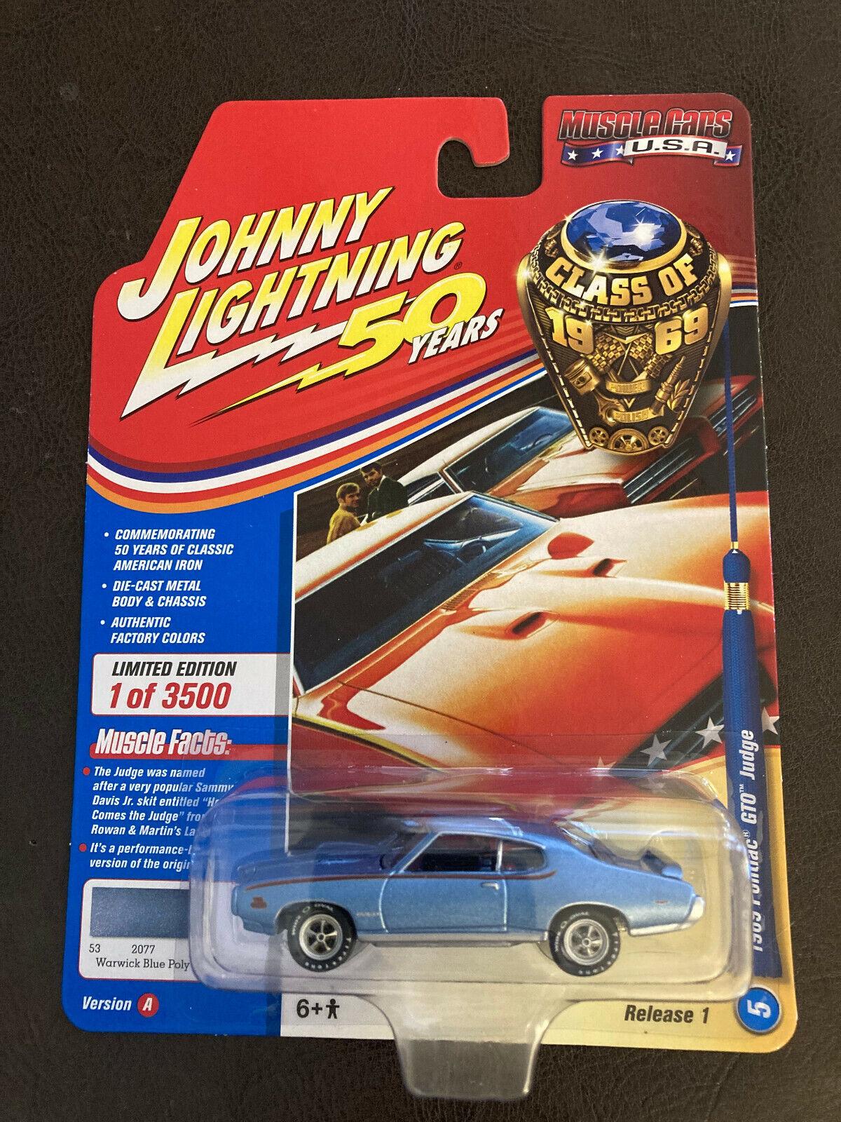 Johnny Lightning JLMC019 Muscle Car 1969 Pontiac GTO VER B Silver Poly