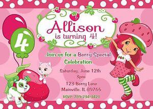 Strawberry shortcake birthday party invitation ebay image is loading strawberry shortcake birthday party invitation filmwisefo