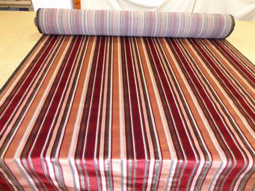 Stunning Designer Striped Velvet Upholstery Fabric RED WINE