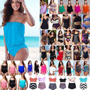 PLUS-SIZE-Women-039-s-Tankini-Bikini-Push-Up-Monokini-Swimsuit-Bathing-Suit-Swimwear