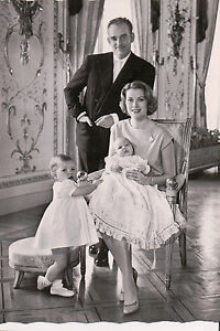 Postcard Prince Rainier III & Princes Grace of Monaco & Children