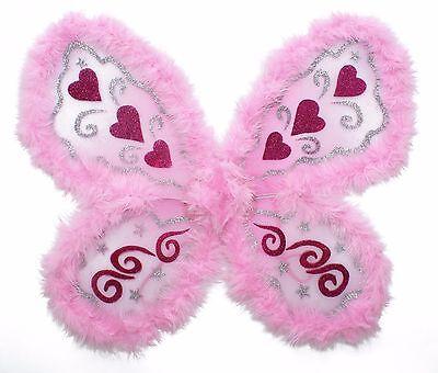Pink Angel Wings w//Marabou Edge /& Silver Glitter Pattern Fairy Wings FOC Del