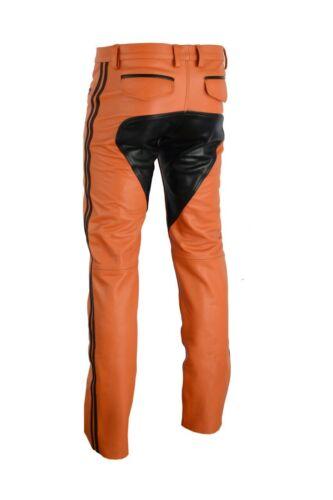pantalon cuir de 30w orange en pantalon Pantalon en 722 cuir culotte moto pantalon pour en cuir taille wnFp1Zxg