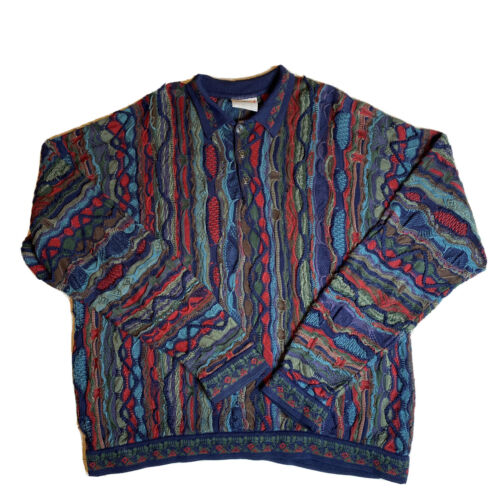 Vintage Coogi Australia Blue 3D Knit Cotton Polo S
