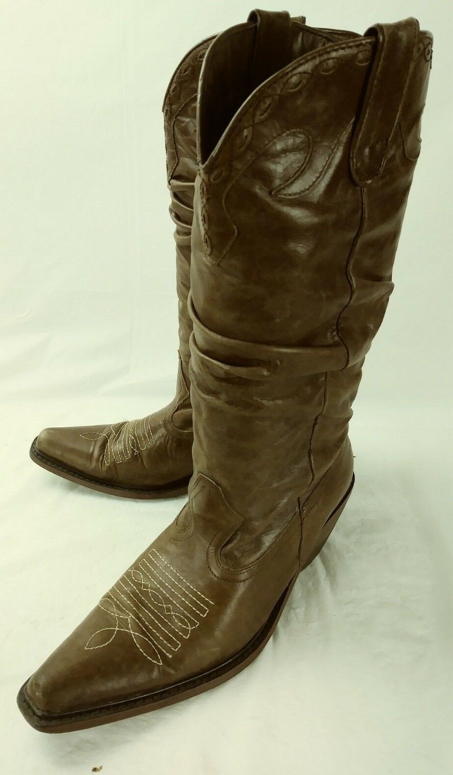 Steve Madden Wos Boots Tall SADDDLE US 6.5 M Brown Leather Slouchy Heels 5439