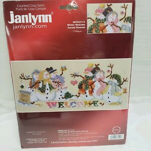 Janlynn-017-0112-034-Winter-Welcome-034-Snowmen-Counted-Cross-Stitch-Kit-Sam-Hawkins