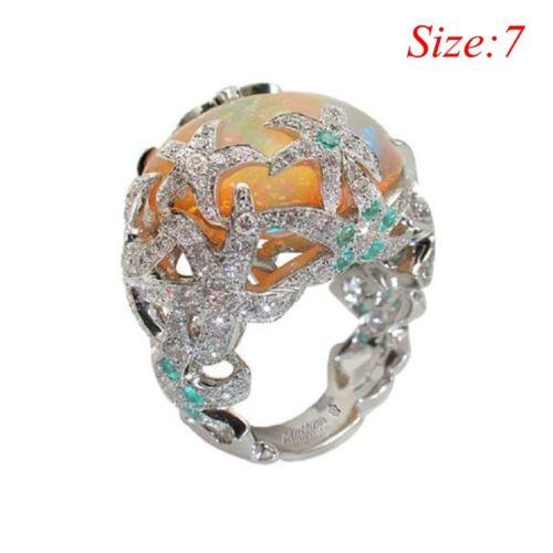 925 Argent Orange Opale de feu étoile de mer mariage fiançailles nuptiale Anneau Taille 6-10