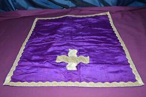 Ancien Voile De Calice Galon Croix Fils MÉtalliques Argente Tissu Satin Mauve