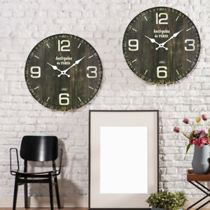 2x retro holz wand uhren rund flur dekoration wohn schlaf zimmer zeit anzeige ebay. Black Bedroom Furniture Sets. Home Design Ideas