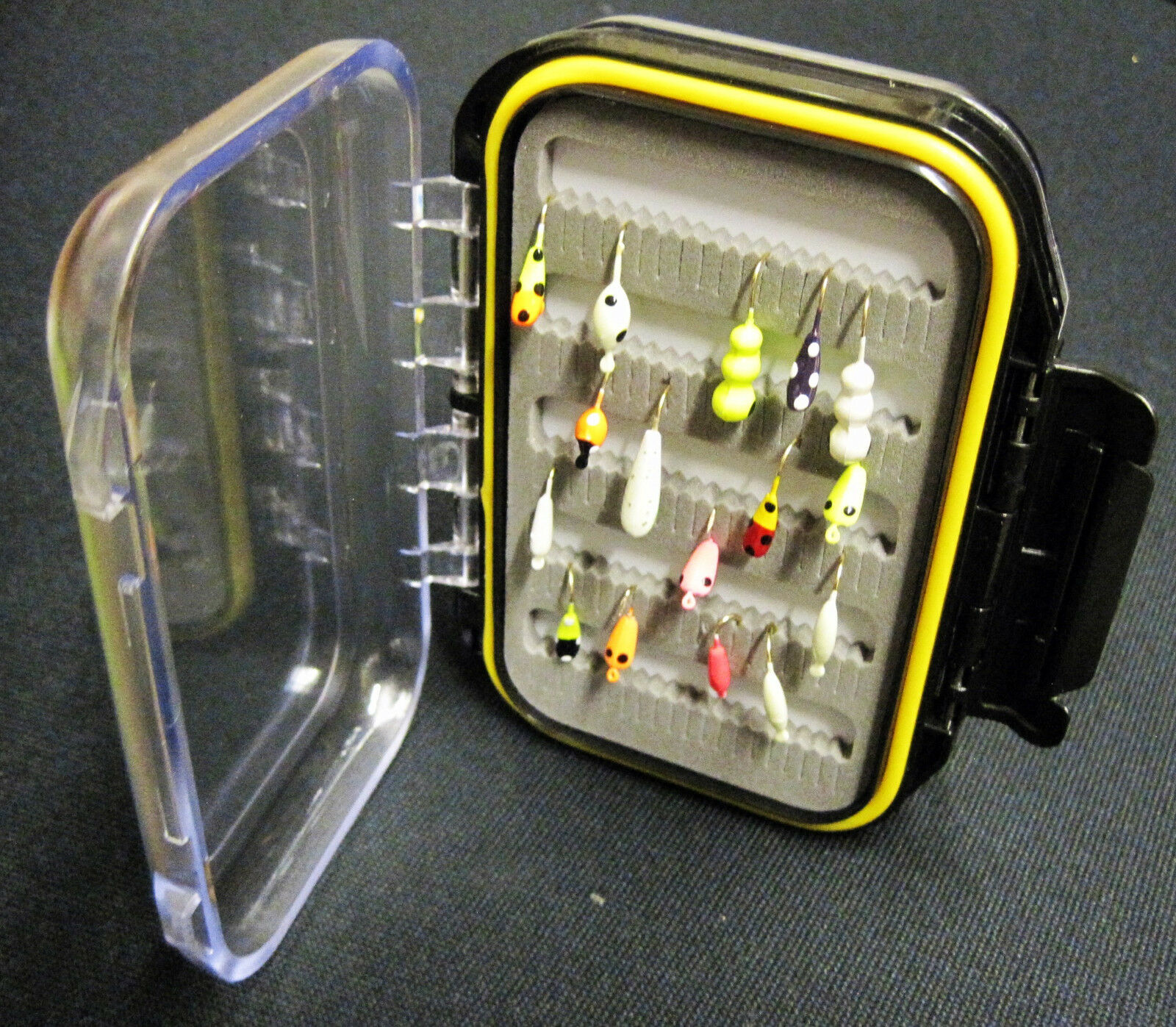 16 32 48 64 Glow Jigs Plus Double Sided Fly Jig Box - Ice Fishing Perch Panfish