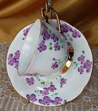 1031 by Royal Standard Tea Cup and Saucer Purple Flowers gold gilt *et