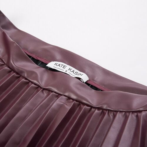KK Women/'s Casual Pleated Flared A Line Faux Leather Stretchy High Waist Skirt
