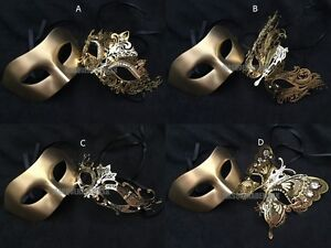 Black Silver Masquerade Ball Mask Pair Costume Formal Dance Prom Birthday Party